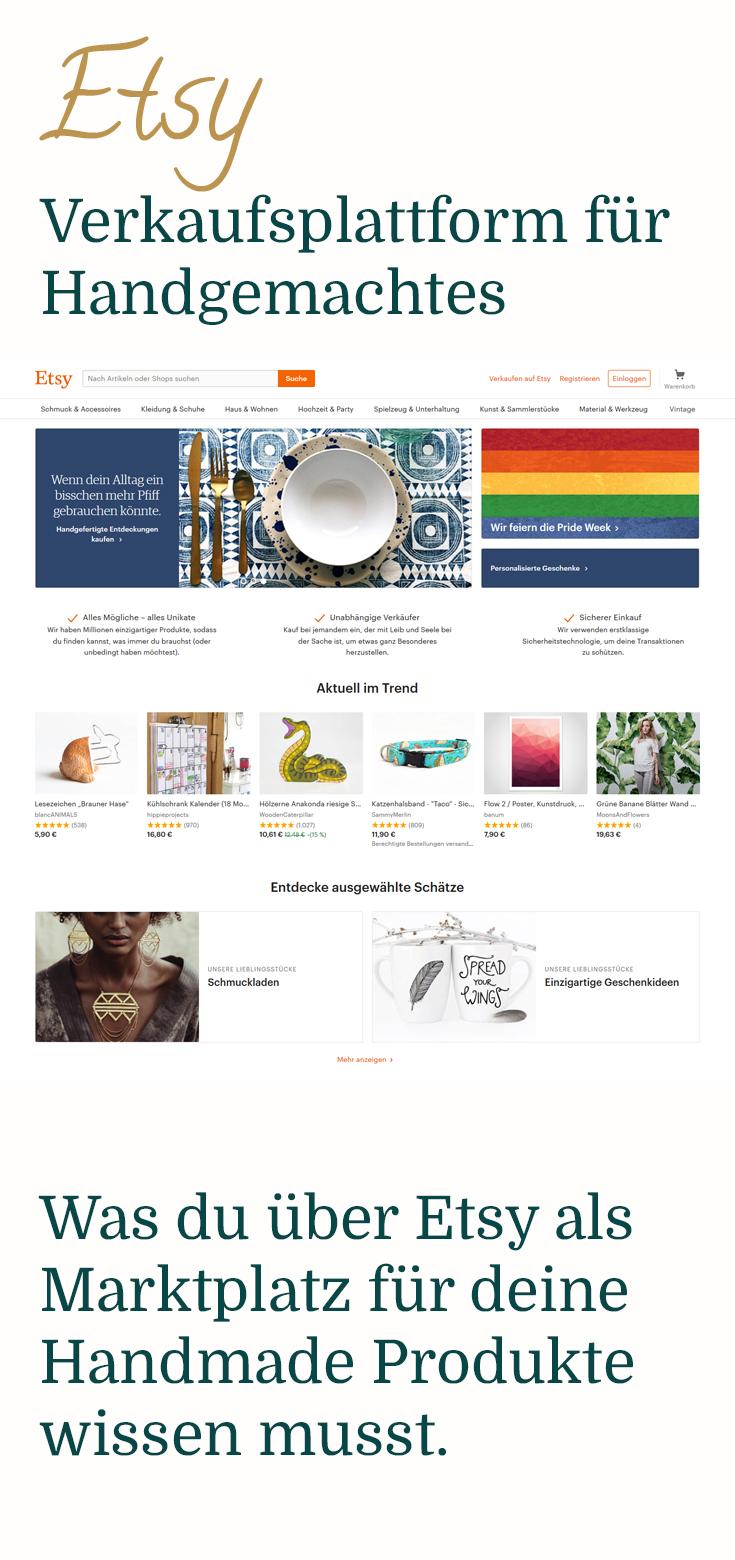 Etsy Verkaufsplattform für Handgemachtes, Vintage und Material