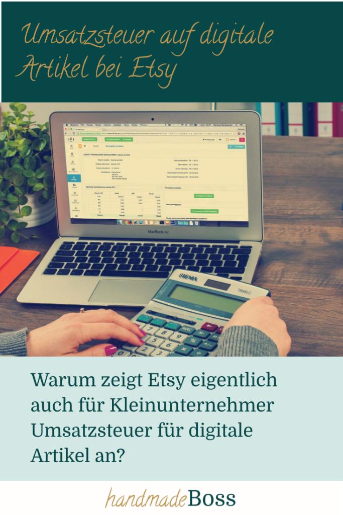 Umsatzsteuer auf digitale Artikel bei Etsy