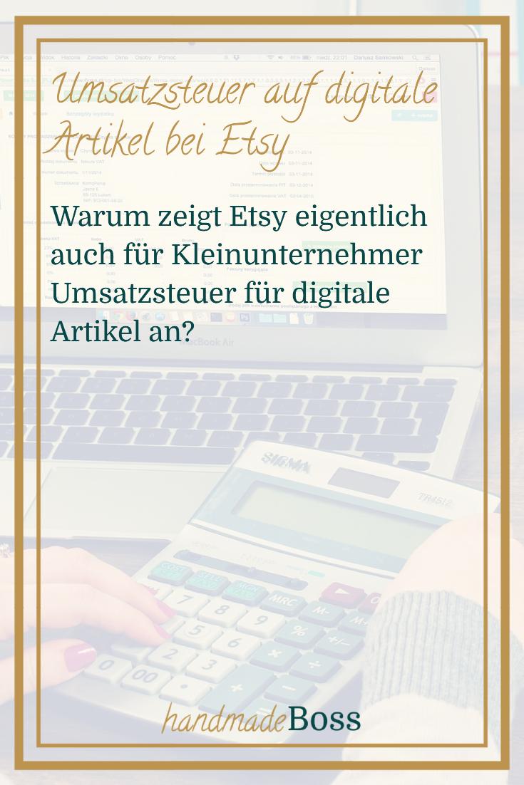 Umsatzsteuer digitale Artikel Kleinunternehmer Etsy – Pinterest-Grafik2